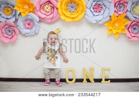 The Girl's Birthday Is One Year. One Year Old Child. First Birthday