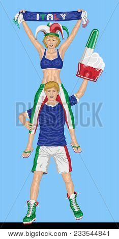 Italian Fans Supporting Italy Team With Scarf And Foam Finger. All The Objects Are In Different Laye