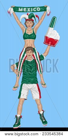 Mexican Fans Supporting Mexico Team With Scarf And Foam Finger. All The Objects Are In Different Lay