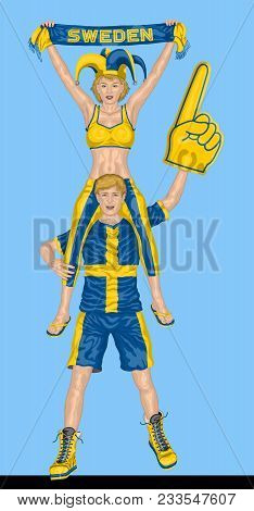 Swede Fans Supporting Sweden Team With Scarf And Foam Finger. All The Objects Are In Different Layer