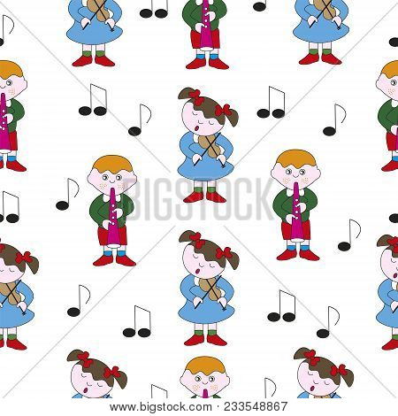 Boy And Girl Play Melody On Musical Instruments. Vector Seamless Illustration.