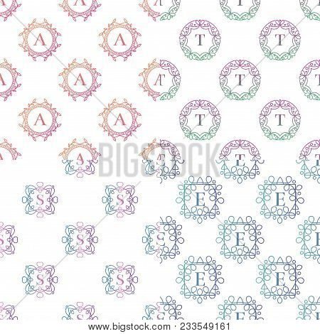 Monogram Seamless Pattern Background Template With Flourishes Calligraphic Elegant Ornament Badge Le