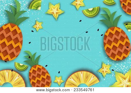 Pineappple, Carambola, Kiwi. Ananas And Starfruit. Summer In Paper Cut Style. Origami Juicy Ripe Sli