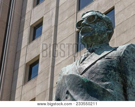Detail Of Monument To Chilean Statesman And Political Figure. Salvador Allende Gossens In Santiago D