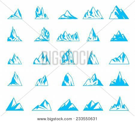 Nature Or Outdoor Mountain Silhouettes. Mountains And Travel Icons For Tourism Organizations, Outdoo