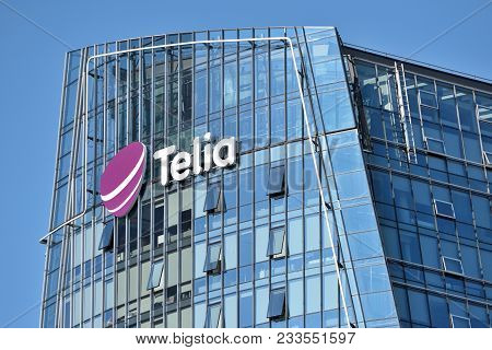 Vilnius, March 27: Telia Logo On A Building On March 27 2018 In Vilnius, Lithuania. Telia Is A Swedi