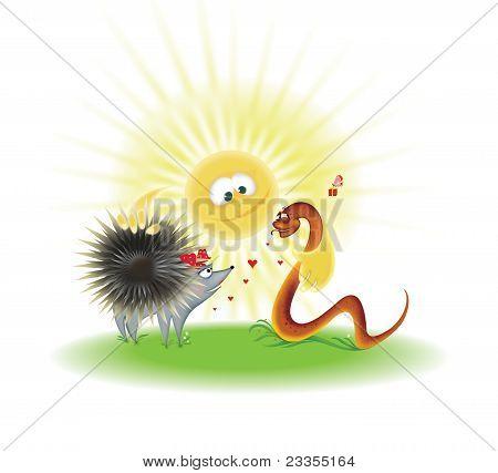 Nicer Hedgehog And Snake