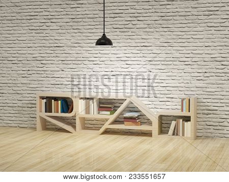Ceiling Lamp With Read Word Bookcase On Wooden Floor And White Bricks Wall.