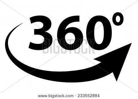 360 Degree View. 360 Degree Panorama On White Background. 360 Degree Sign. Flst Style.