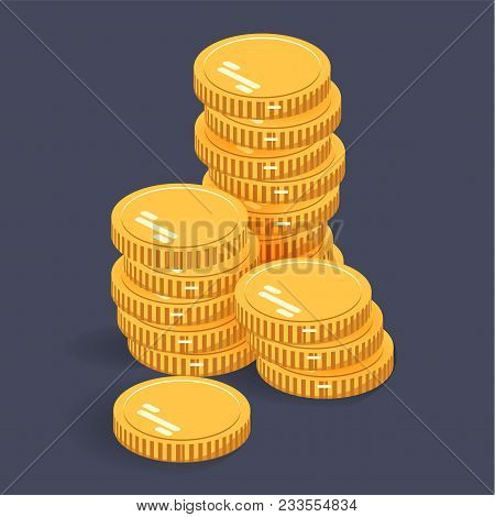 Gold Stack Coins. Vector Isometric Money Icon On A Colored Background. Money Flat Icon In Isometric
