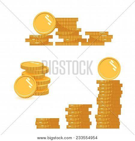 Coins Stack Set Vector Illustration, Icon Flat Finance Heap, Dollar Coin Pile. Golden Money Standing