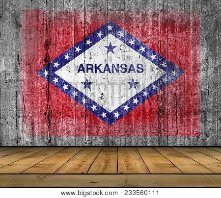Us State National Arkansas Concrete Flag With Wooden Floor