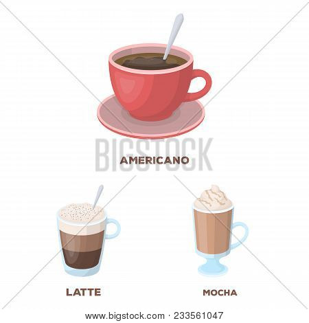 Different Kinds Of Coffee Cartoon Icons In Set Collection For Design. Coffee Drink Vector Symbol Sto