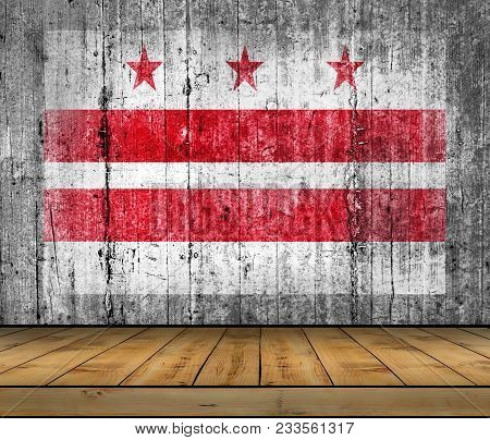 Us State National Distric Of Columbia Concrete Flag With Wooden Floor