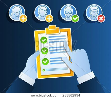 Business Concept Of Hiring Of An Employee. Candidate Qualification Job Interview And Check List. Fla