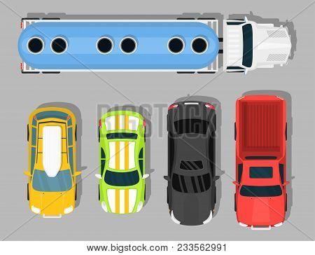 Top View Colorful Car Toys Different Pickup Automobile Transport Wheel Transportation Auto Design Ve
