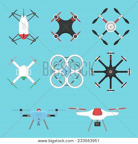 Vector illustration aerial vehicle drone quadcopter surveillance unmanned innovation. Air drone hovering wireless tool. Remote control fly camera. poster