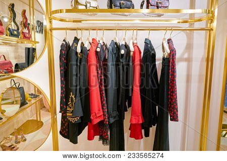 MILAN, ITALY - CIRCA NOVEMBER, 2017: various of Red Valentino clothes on display at Rinascente. Rinascente is a collection of high-end stores.