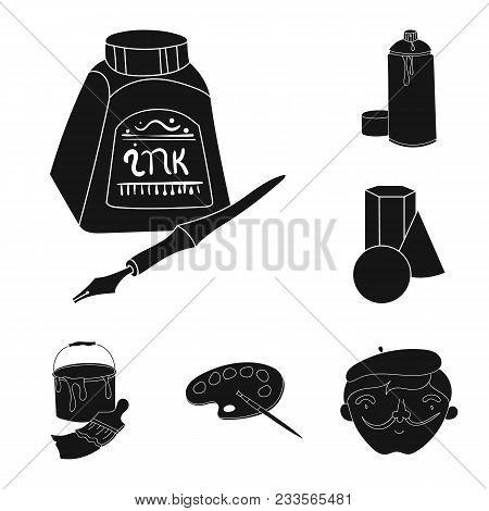Painter And Drawing Black Icons In Set Collection For Design. Artistic Accessories Vector Symbol Sto
