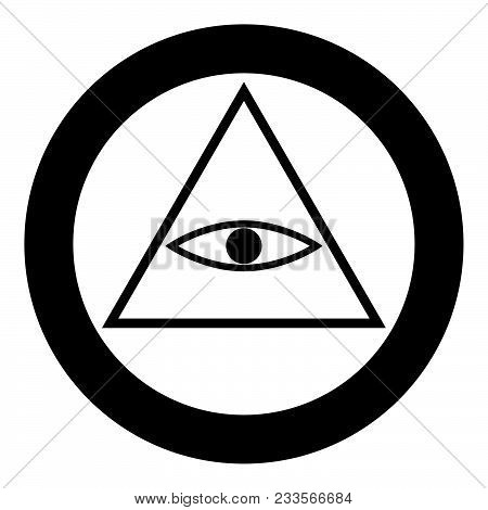 All Seeing Eye Symbol Icon Black Color In Circle Or Round Vector Illustration