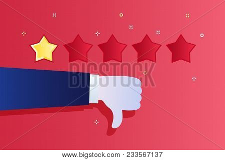 Concept Of Rating. Customer Review. One Star Rating. Thumb Down, Dislike. Flat Design Vector Illustr