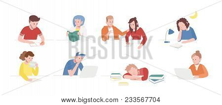 Collection Of Teenage Boys And Girls Sitting At Desks With Laptops, Reading Books, Writing, Sleeping