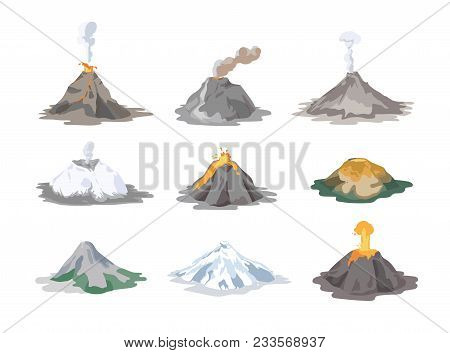 Collection Of Inactive And Active Volcanoes Erupting And Emitting Smoke, Ash Clouds And Lava Isolate