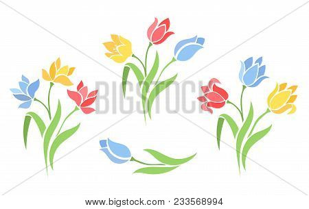 Vector Set Of Beautiful Silhouettes Flowers Tulips. Floral Branches. Floral Decorations For Vintage