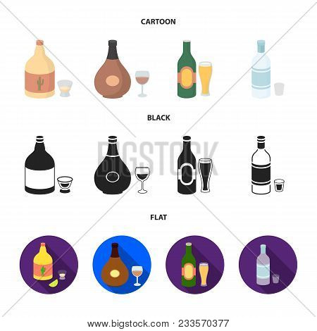 Tequila, Cognac, Beer, Vodka.alcohol Set Collection Icons In Cartoon, Black, Flat Style Vector Symbo