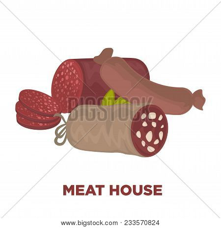 Sausages Or Wurst Meat Delicatessen. Vector Isolated Icons Of Sausage Sorts Salami, Pepperoni And Po