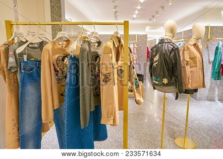 MILAN, ITALY - CIRCA NOVEMBER, 2017: various of Valentino clothes on display at Rinascente. Rinascente is a collection of high-end stores.