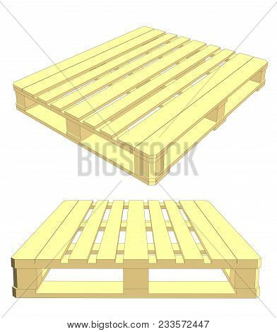 Set Of Wooden Pallet On White Background. 3d Illustration