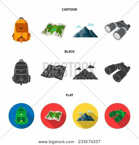 Backpack, Mountains, Map Of The Area, Binoculars. Camping Set Collection Icons In Cartoon, Black, Fl