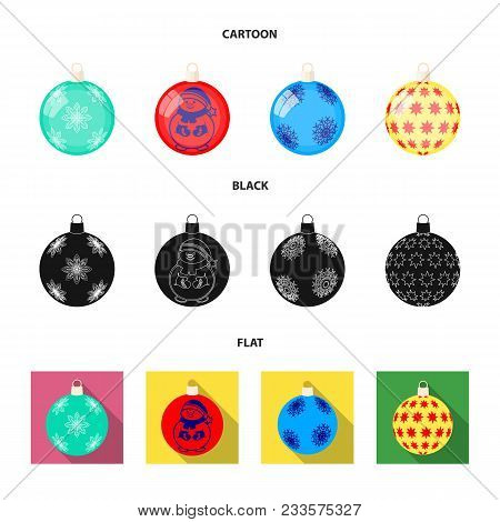 New Year Toys Cartoon, Black, Flat Icons In Set Collection For Design.christmas Balls For A Treevect