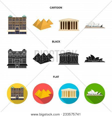 Sights Of Different Countries Cartoon, Black, Flat Icons In Set Collection For Design. Famous Buildi