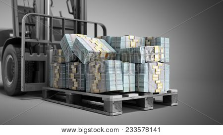 Stack Of Dollar Money Bills On Wooden Pallet With A Forklift Loader 3d Render On A Grey Background
