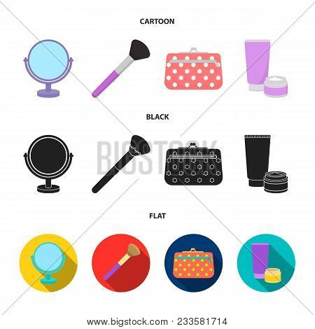 Table Mirror, Cosmetic Bag, Face Brush, Body Cream.makeup Set Collection Icons In Cartoon, Black, Fl