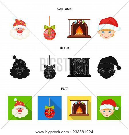 Santa Claus, Dwarf, Fireplace And Decoration Cartoon, Black, Flat Icons In Set Collection For Design