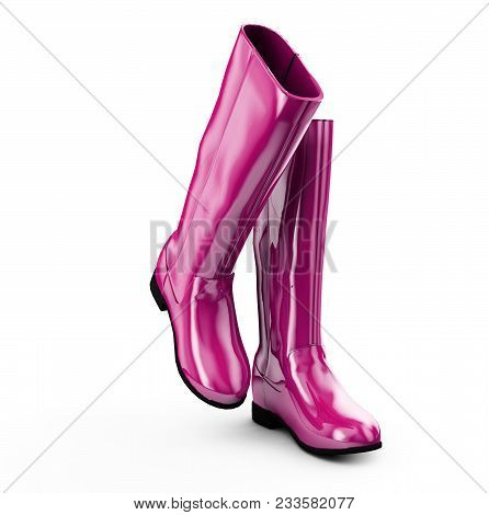 Yellow Boots On White 3d Illustration Clothing, Protection, Boots, Walking,