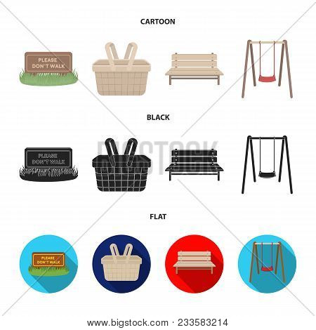 Lawn With A Sign, A Basket With Food, A Bench, A Swing. Park Set Collection Icons In Cartoon, Black,