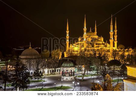 Sultan Ahmed Mosque Known As The Blue Mosque Is A Historic Mosque In Istanbul, Turkey At Night