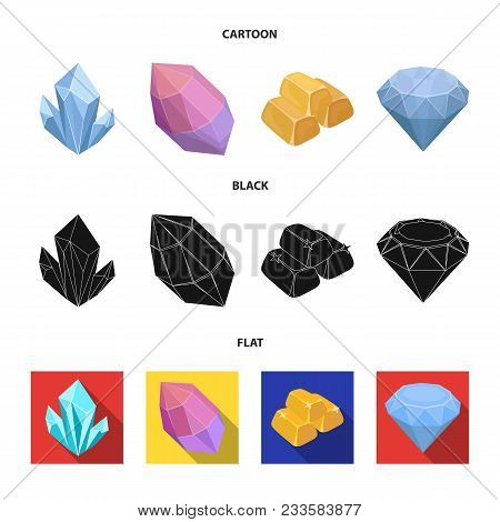 Crystals, Minerals, Gold Bars. Precious Minerals And Jeweler Set Collection Icons In Cartoon, Black,