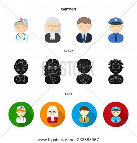 Doctor, Judge, Business, Police.profession Set Collection Icons In Cartoon, Black, Flat Style Vector