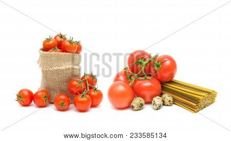 Pasta, Tomato And Quail Eggs On A White Background. Horizontal Photo.