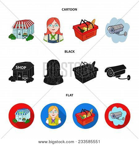 Salesman, Woman, Basket, Plastic .supermarket Set Collection Icons In Cartoon, Black, Flat Style Vec