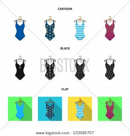 Different Kinds Of Swimsuits. Swimsuitsset Collection Icons In Cartoon, Black, Flat Style Vector Sym