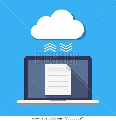 Laptop And Cloud Storage. The Concept Of File Synchronization. Secure Storage Of Documents. Flat Vec