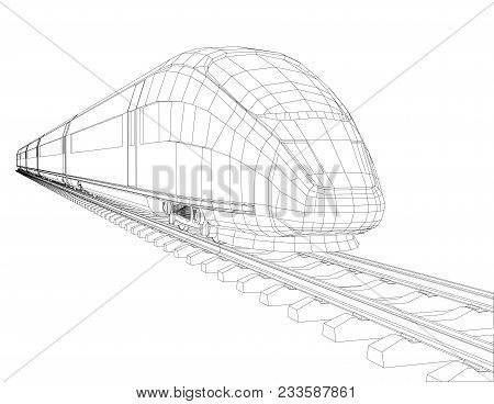 Abstract Polygonal High-speed Passenger Train. Traveling Concept. 3d Illustration. Wire-frame Style