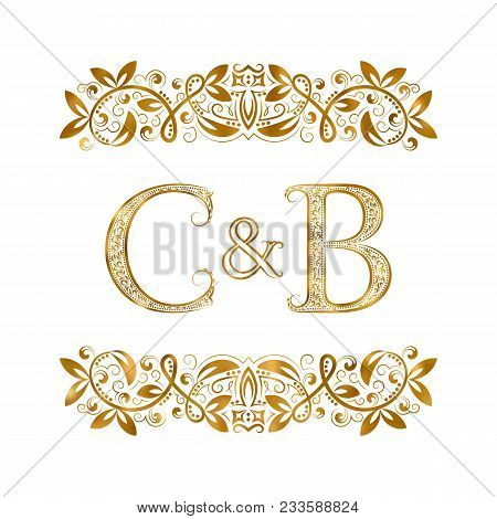 C&b Vintage Initials Logo Symbol. Letters C, B, Ampersand Surrounded Floral Ornament. Wedding Or Bus