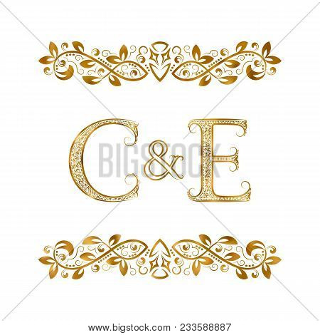 C&e Vintage Initials Logo Symbol. Letters C, E, Ampersand Surrounded Floral Ornament. Wedding Or Bus